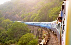 train going through landscape