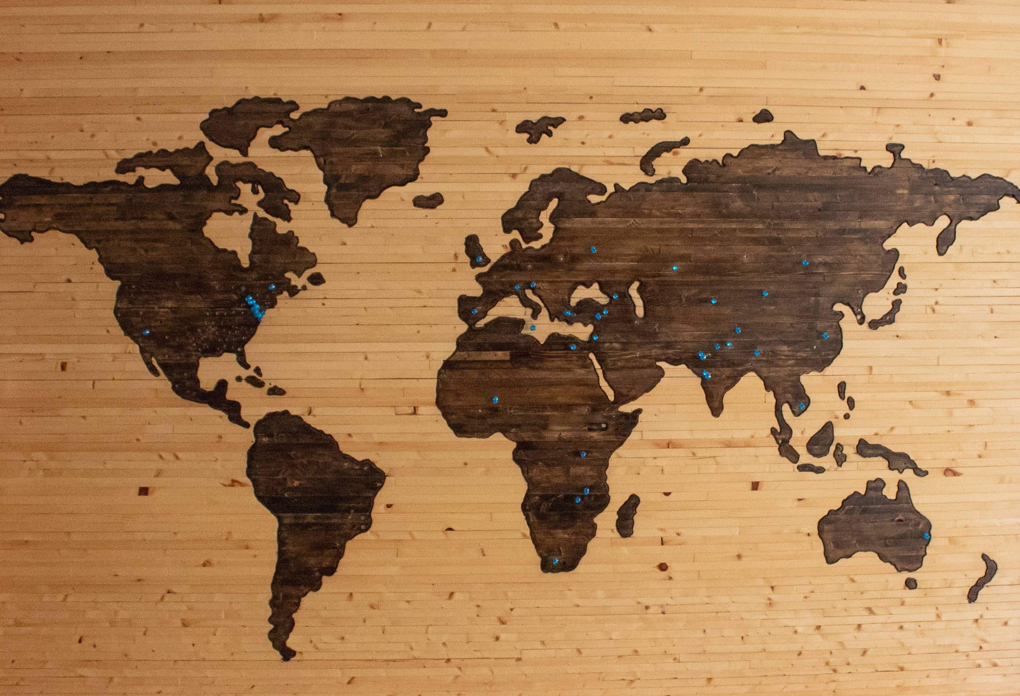 world map for the travel planning guide